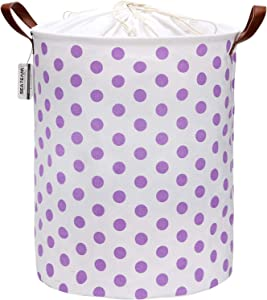 Sea Team 19.7 Inches Large Sized Waterproof Coating Ramie Cotton Fabric Folding Laundry Hamper Bucket Cylindric Burlap Canvas Storage Basket with Stylish Purple Polka Dot Design