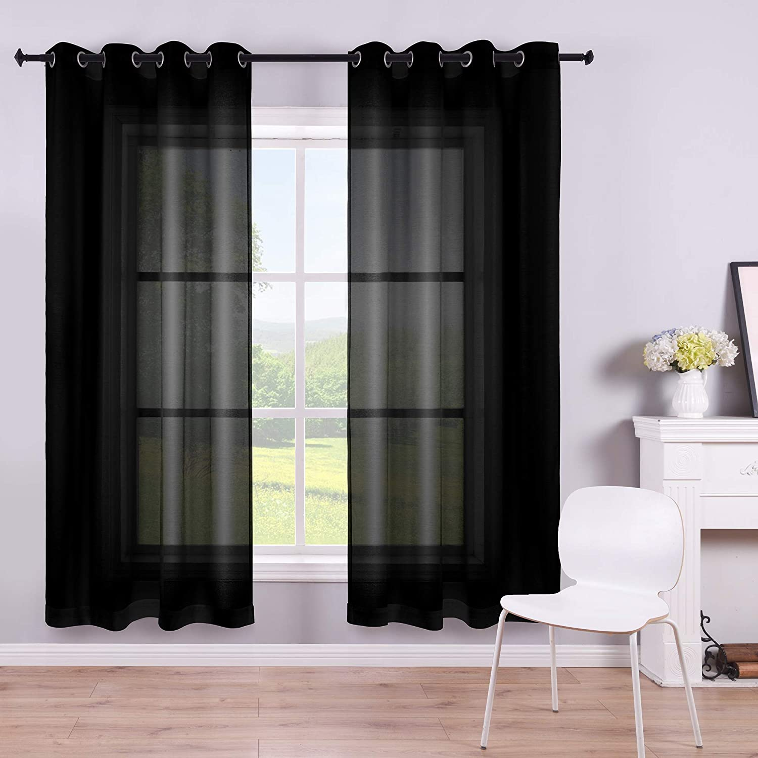 KOUFALL Black Sheer Curtains 63 Inch Length for Bedroom Set of 2 Panels Grommet Faux Linen Semi Voile Window Drapes Elegant Office Curtains for Men Living Room 52x63 Inches Long