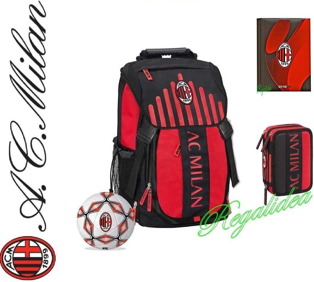 Mochila oficial AC Milan Escuela 2017 y 2018 + Estuche 3 pisos Pieno + Diario + Balón: Amazon.es: Deportes y aire libre