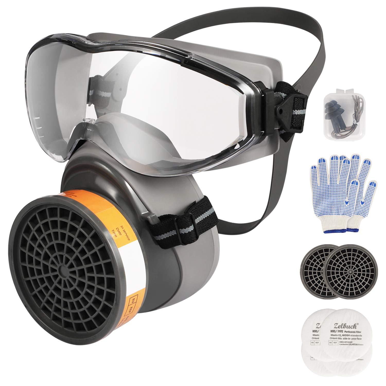 Zelbuck 8100 Cubierta de la Cara Reutilizable con Doble Filtro para Pintura, Polvo,Productos Químicos,Lijado a Máquina,Formaldehído
