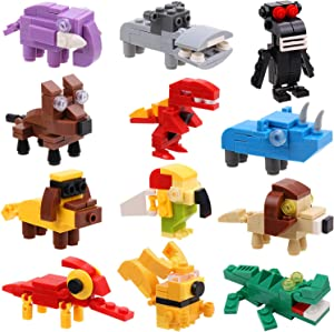 IAMGlobal 12 in 1 Mini Building Blocks Animals, Assorted Toy Animal, Building Blocks Stem Toys, Party Favor for Girls Boys Kids, Goodie Bags, Birthday, Carnival Prizes (Animals)