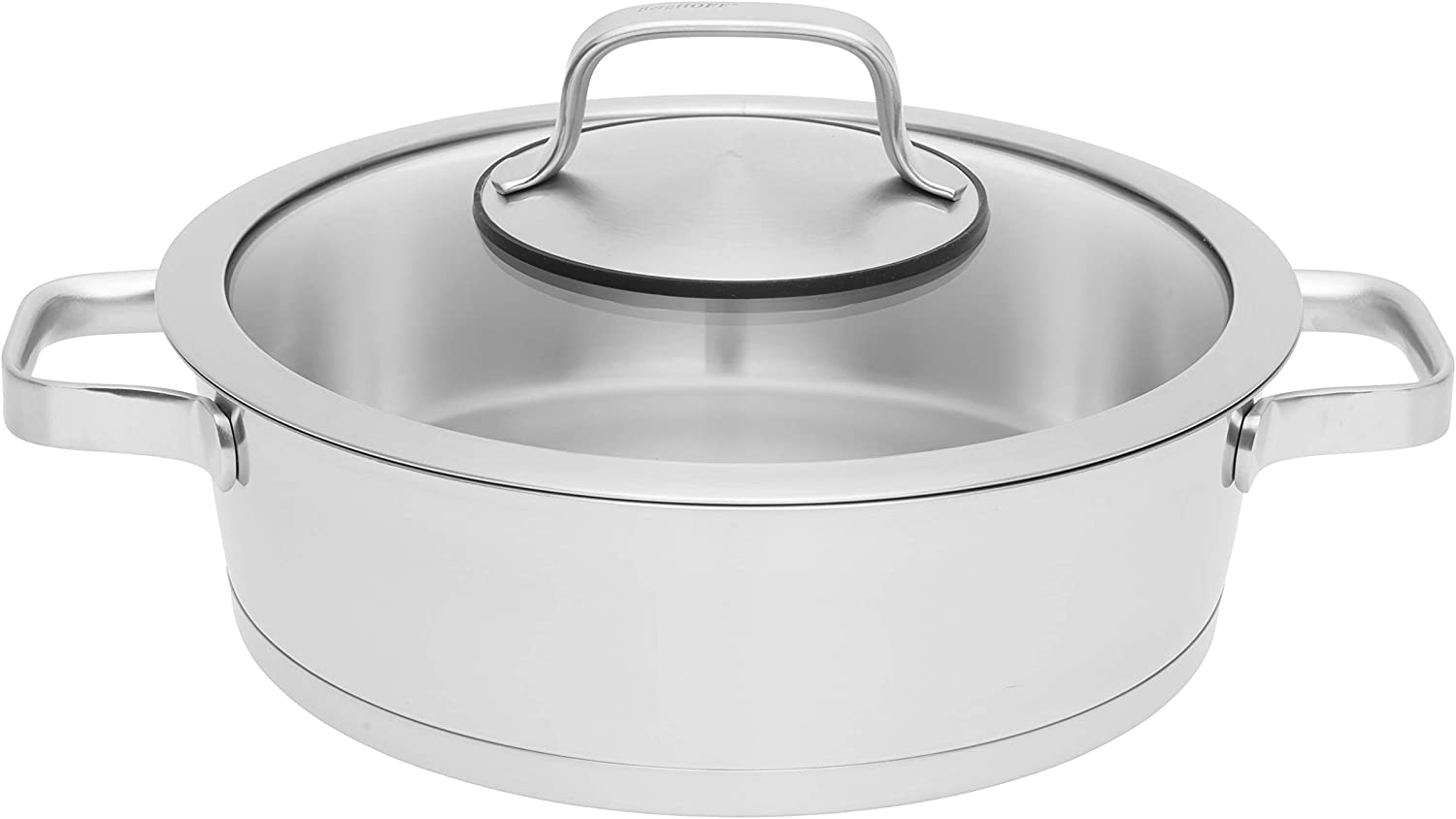 Amazon Com Berghoff Manhattan 9 5 18 10 Stainless Steel Two Handle Covered Deep Skillet 3 2qt Kitchen Dining