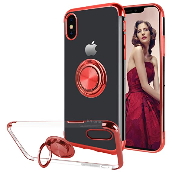 purchase cheap df7b5 737a1 Ownest Compatible with iPhone Xs Max Case with Built-in 360 Rotatable Ring  Kickstand Fit Magnetic Car Mount and Transparent TPU Protective for iPhone  ...