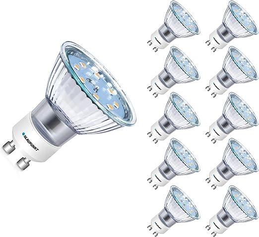 BLAUPUNKT Iluminación - Bombilla LED Foco GU10-4W - Equivalente a 50 W - No Regulable - Blanco Cálido - Pack de 10 - Ángulo de haz de 120°: Amazon.es: Iluminación