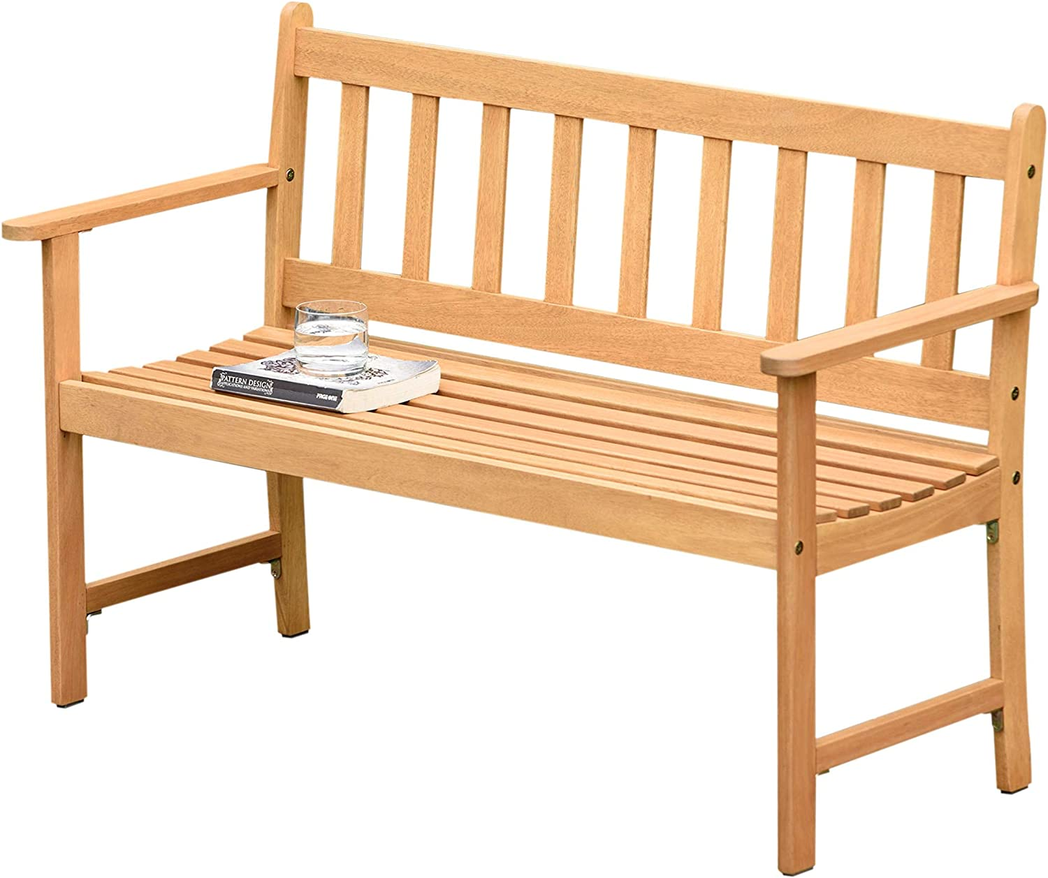 Brampton Omaha 2-Seat Capacity Patio Wood Bench | Teak Finish | Ideal for Outdoors and Indoors, Light Brown