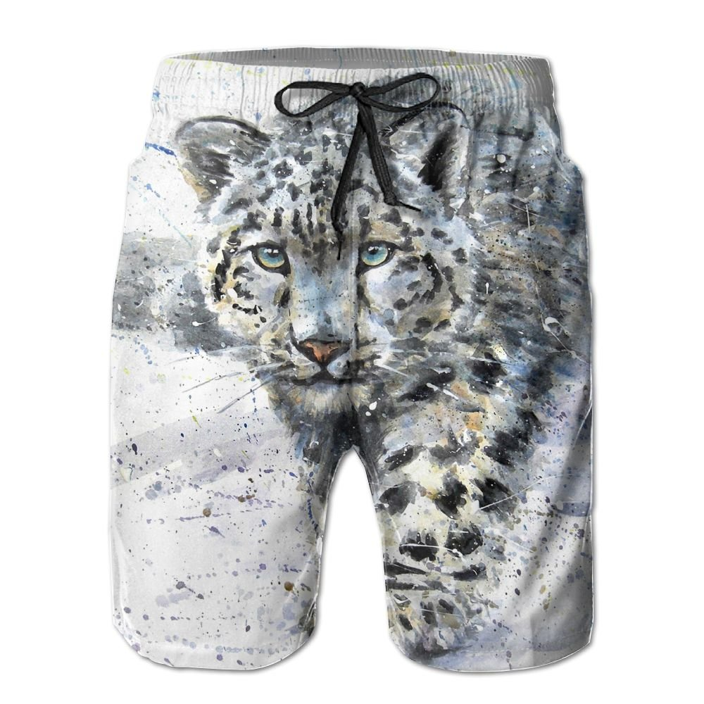 NGFF Watercolor Snow Leopard Summer Casual Style Adjustable Beach Home Sport Shorts