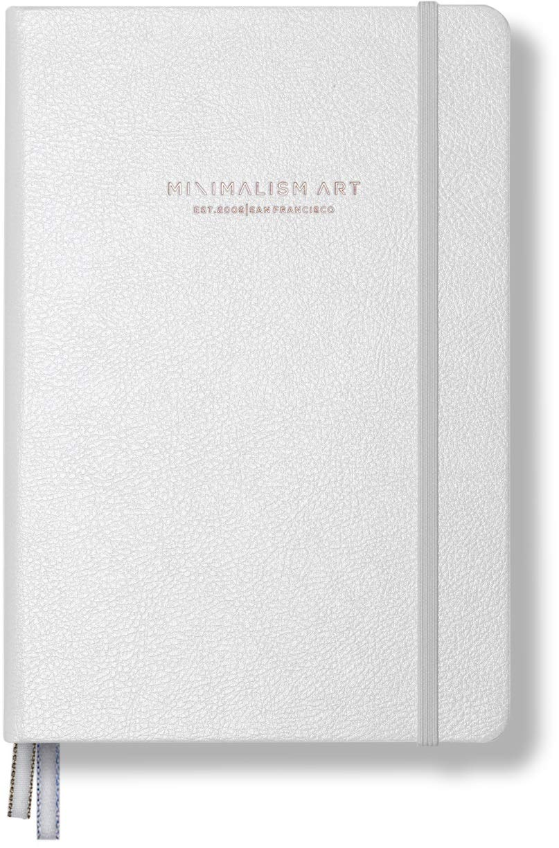 Minimalism Art, Premium Edition Notebook Journal, Medium A5 5.8 x 8.3 inches, Plain Blank Page, Hard Cover, 234 Numbered Pages, Gusseted Pocket, Ribbon Bookmark, Ink-Proof Paper 120gsm (White) by Minimalism Art