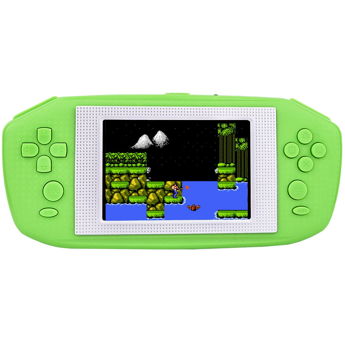 Kids Retro Handheld Game Console with Built in 416 Classic 80's Old Games Portable Gaming Player Boy Arcade System Birthday Gift for Children Video Playstation 3.5'' Color LCD Big Screen(Green)