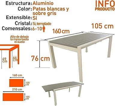 Edenjardi Mesa para Exterior Extensible de 160 cm a 220 cm ...