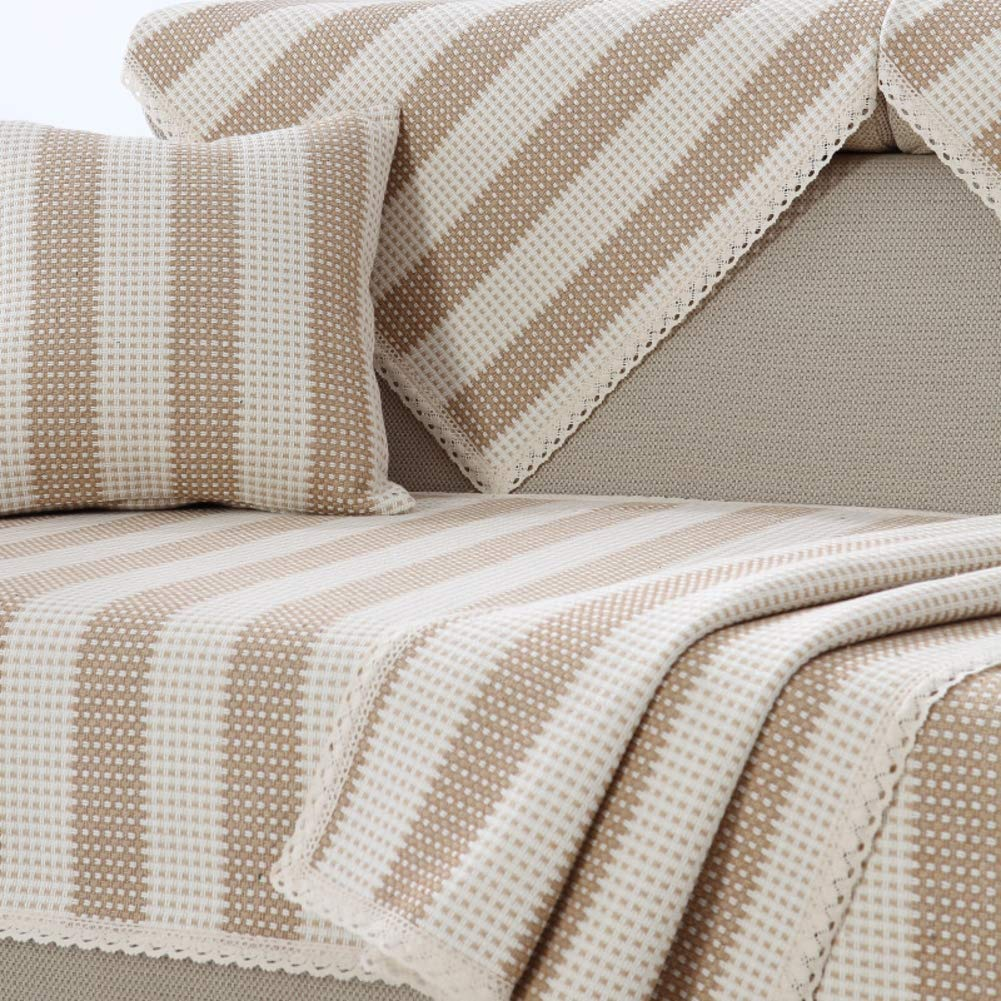 Z-one Striped Sofa cover Sectional Lace edge Scratch resistant Anti-slip Couch cover Sofa slipcover Protector Sold separately Khaki 24x24in