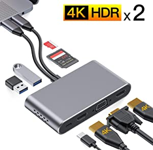"""USB C Hub,GIKERSY MacBook Pro Adapter,8 in 1 Multiport Docking Station with Dual 4K HDMI,VGA,Compatible for MacBook Pro 2020-2016 13/15/16"""",MacBook Air 2020-2018,USB3.0/2.0,100W PD,SD/TF Card Reader"""