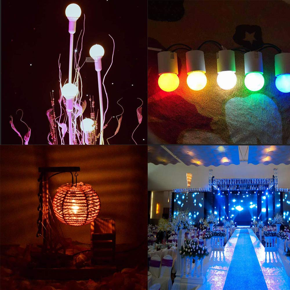 G45 Mini LED Colored Light Bulb 1W E27 Base Multi-Colored Bulbs White Yellow Green Red Blue for Bedroom Wedding Halloween Christmas Party Bar Mood Decoration,10 Pack Night Blazers