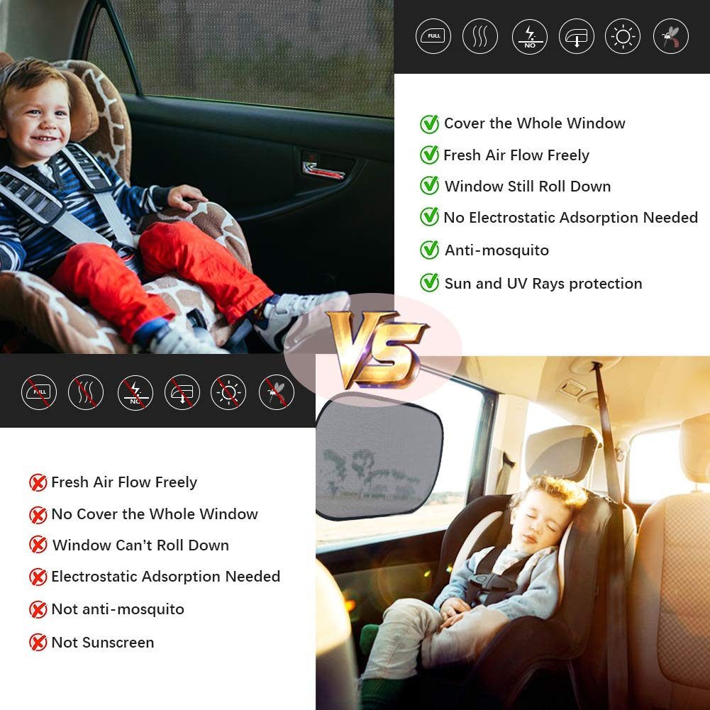 GOLDFLOWER Universal Car Side Window Sun Shade,Car Sun Shade for Side Window Fits Most of Vehicle Double Layer Design Heats and UV Rays 2 Pack Protects Your Kids from Sun Burn