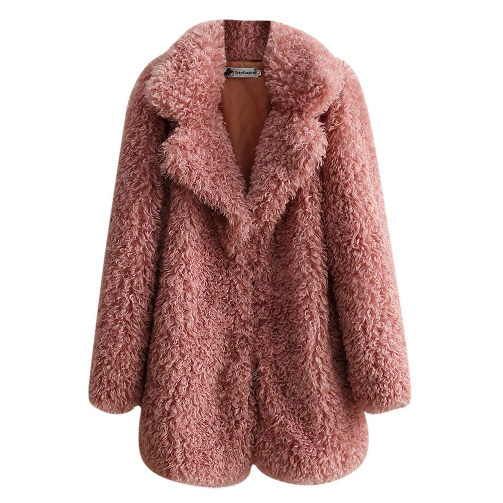 Shusuen Women's Fleece Furry Fuzzy Open Front Winter Coat Solid Color Outwear Jackets Pink by Shusuen_Clothes
