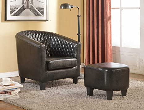 Terrific Container Furniture Direct Isabella Collection 2 Piece Traditional Faux Leather Lounge Chair And Ottoman Footrest Set Black Beatyapartments Chair Design Images Beatyapartmentscom