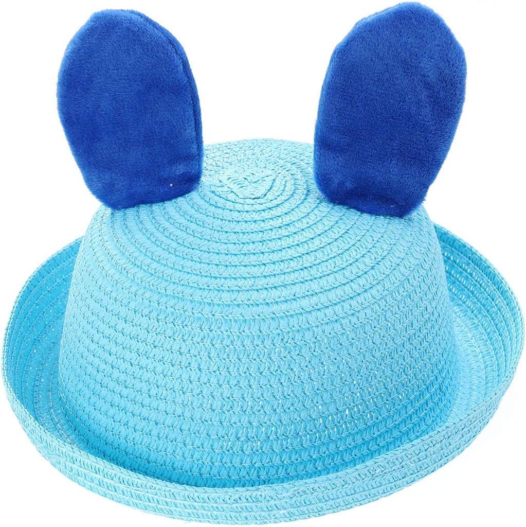 TENDYCOCO Kids Summer Animal Hats Beach hat Cartoon Rabbit Cap Straw hat Cute Animal Sun hat Blue