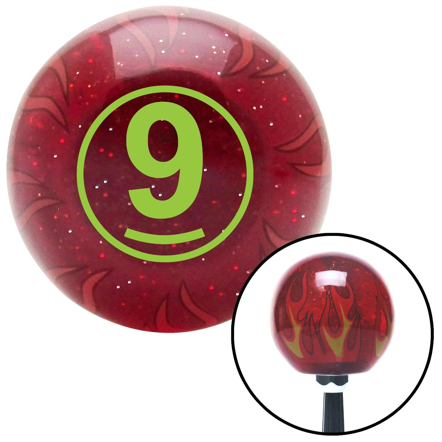 American Shifter 236302 Red Flame Metal Flake Shift Knob with M16 x 1.5 Insert Green Ball #9
