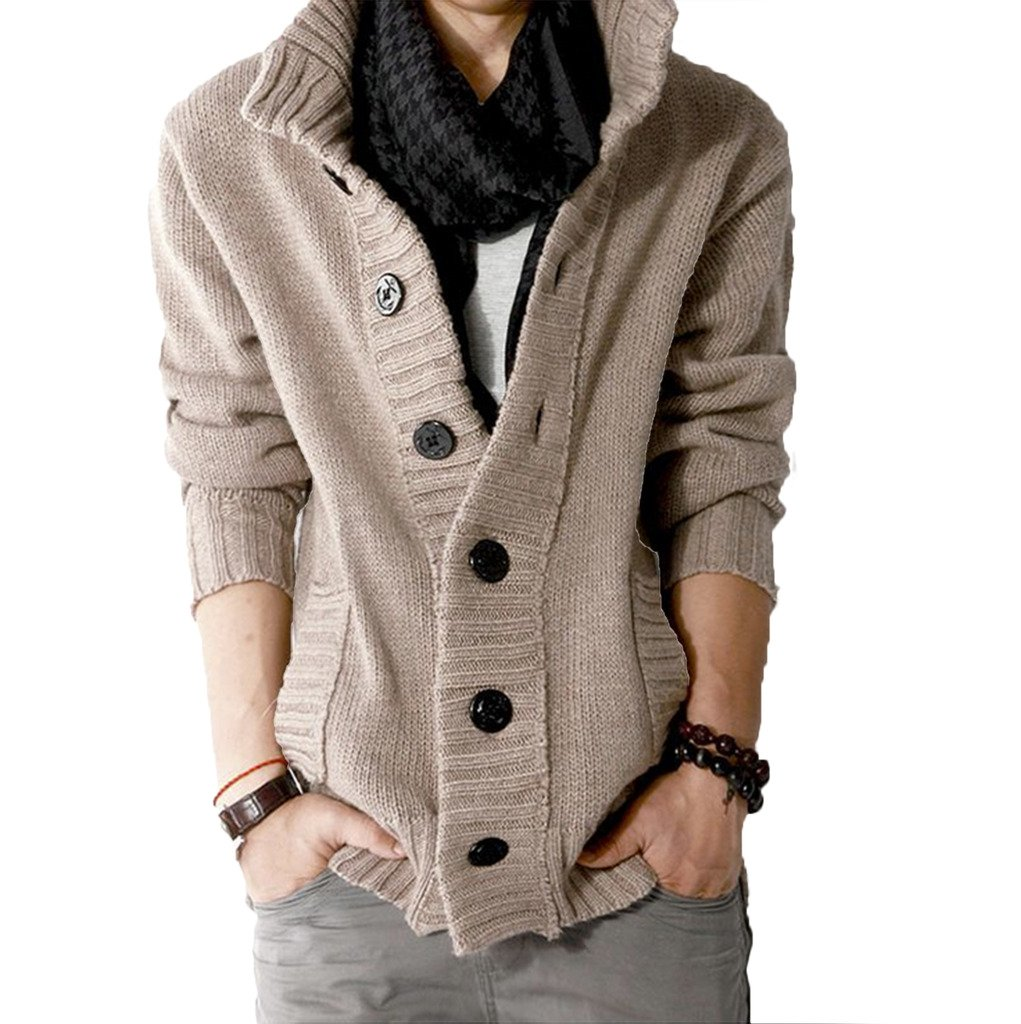 Elonglin Mens Casual Cable Knit Cardigan Sweater Stand Collar EL.MY0176