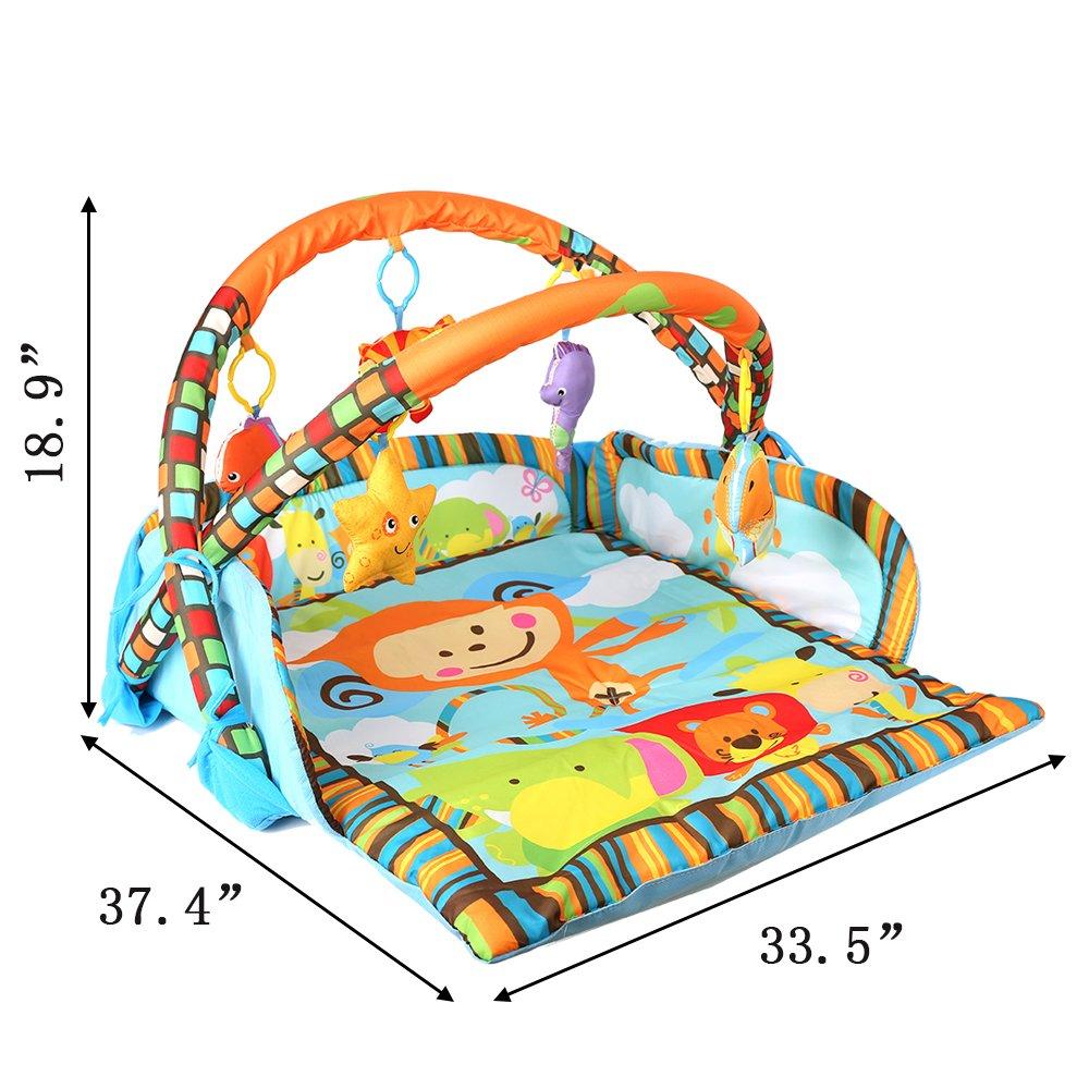 Livebest Folding Baby Monkey Activity Gym Play Mat with 5 Playful Multi-Sensory Hanging Toys