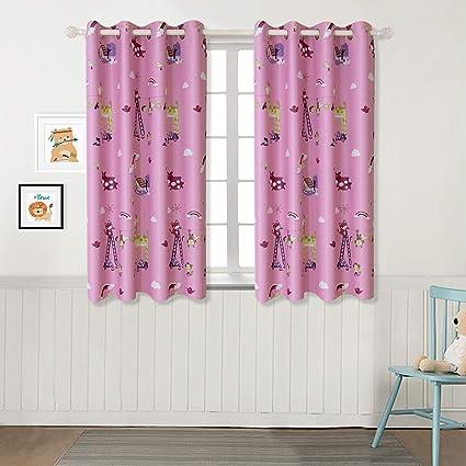 BGment Rideaux Enfant des Animaux Décoration de Fenêtre Rideau Draperies  avec Oeillets, Elegeant pour Bébé Chambre 2 Panneux(2X L 117 XH 137cm,Rose)