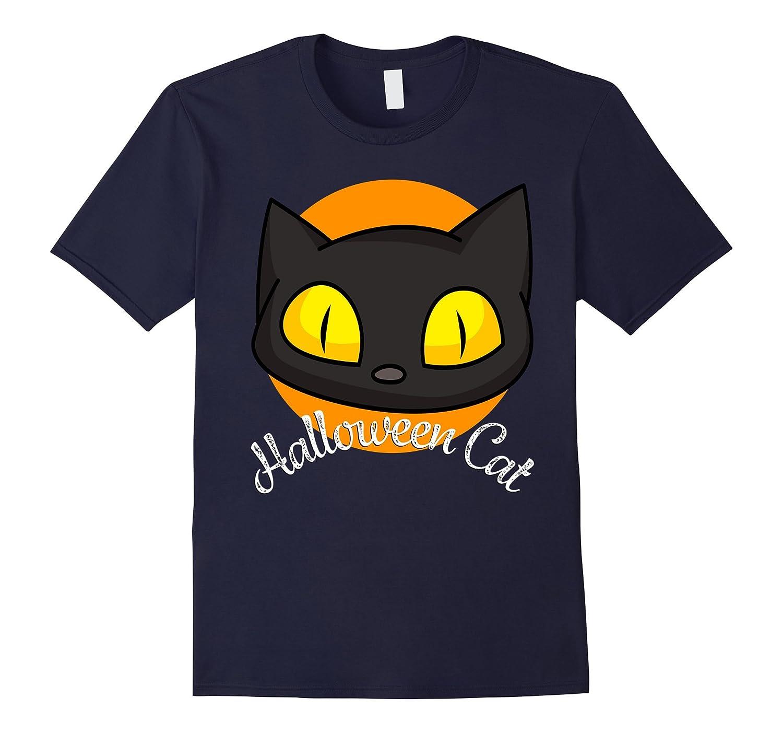 Black Cat Happy Halloween T-Shirt | Full Moon Shirt-T-Shirt