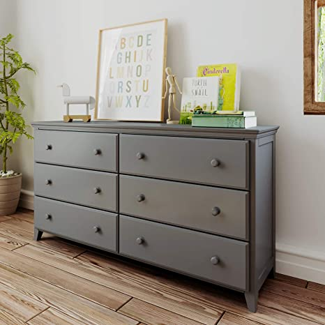 Max Lily Solid Wood 6 Drawer Dresser Grey Furniture Decor