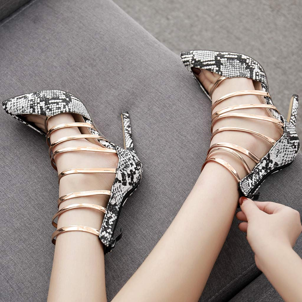Fashion Sandals Slippers,Womens Snake Pattern Shoes Pointed Hollow Sandals Party High Heel Sandals