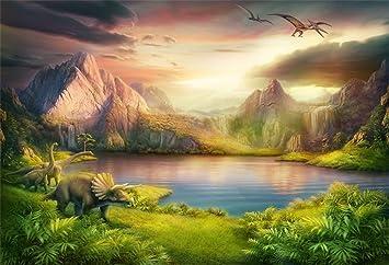 8x8FT Vinyl Photo Backdrops,Dinosaur,Prehistoric Animals Night Photo Background for Photo Booth Studio Props