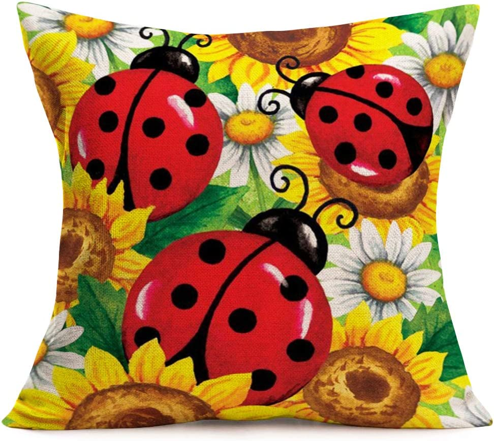 "ShareJ Ladybug Sunflowers Pattern Throw Pillow Covers Kids Home Decorative Square Pillow Cases for Sofa Bedroom Livingroom Cotton Linen Cushion Cover 18"" x 18"""