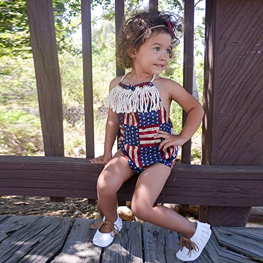 Newmao Infant Baby Summer 4th of July Stars and Stripe Patriotic Backless Halter Romper Outfits