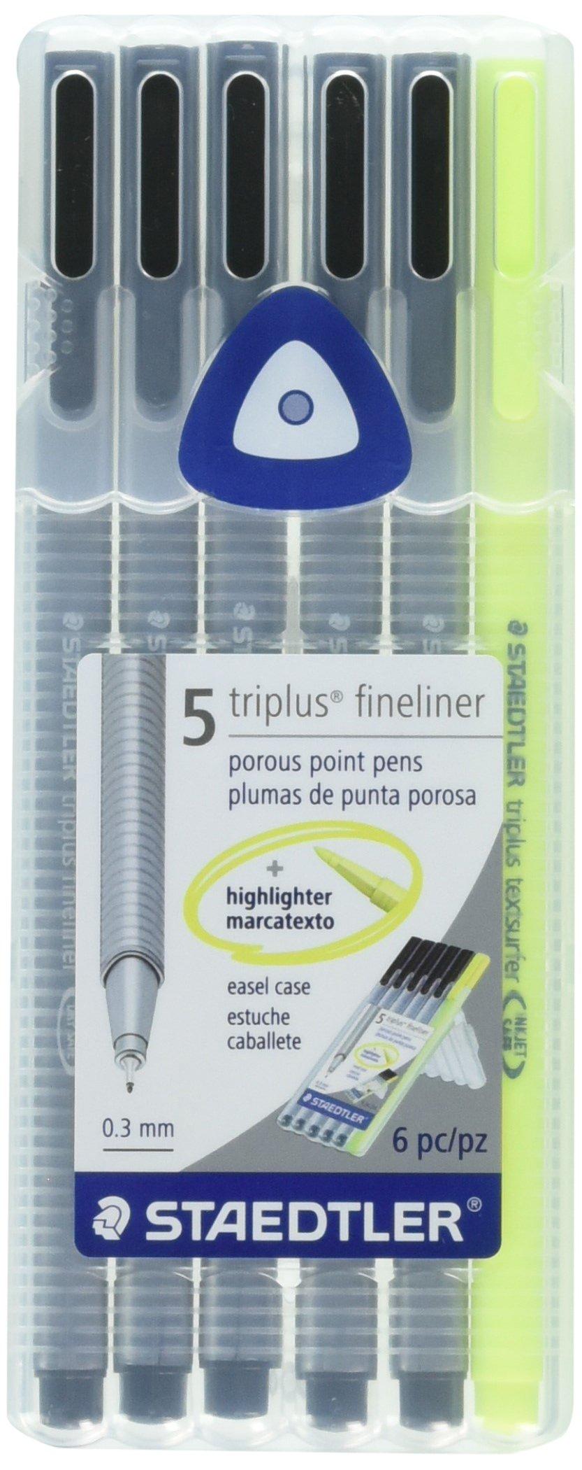 STAEDTLER triplus fineliner BONUS pack, 5 black fineliner pens + FREE highlighter, ergonomic triangular barrel, for writing & highlighting, set of 6, 334-9SB6 by STAEDTLER