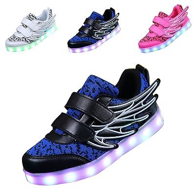 ECOTISH Unisex Kinder Neue LED Leuchten Schuhe 7 Farben, Die Blinkende aufladende Leuchtende Sport-Schuhe mit Flügel-Art-Art und Weiseturnschuhen Ändern (EU 35, Weiß)
