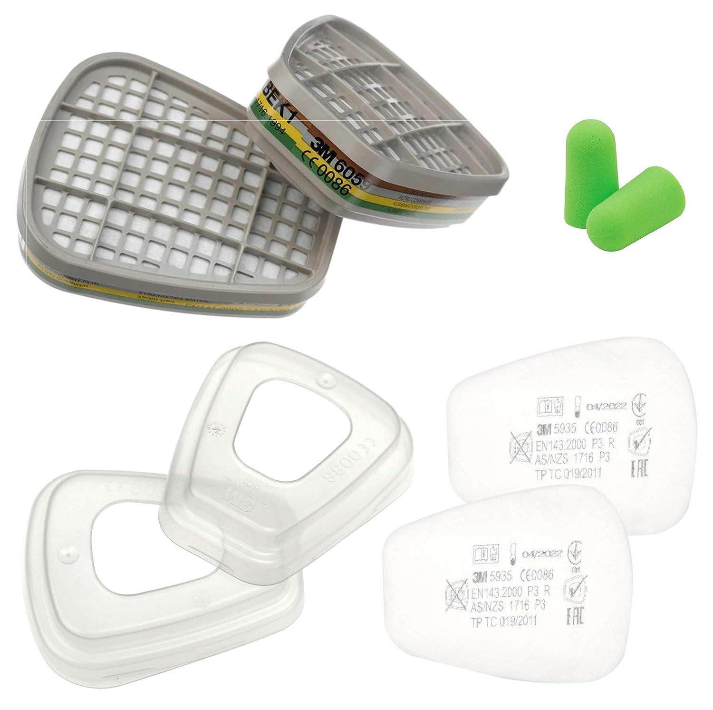 Filtro de cartucho 3M 6059 ABEK1 para máscara respiratoria + 3 filtros antipolvo 5935 P2 R + 3 m anillo de retención 501 y tapones para los oídos SmartProduct