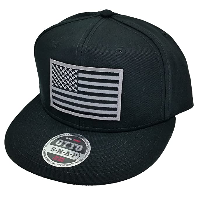 603c33bfe84962 Grey American USA Flag Patch Flat Bill Snapback Baseball Cap Hat by Project  T (Black) at Amazon Men's Clothing store: