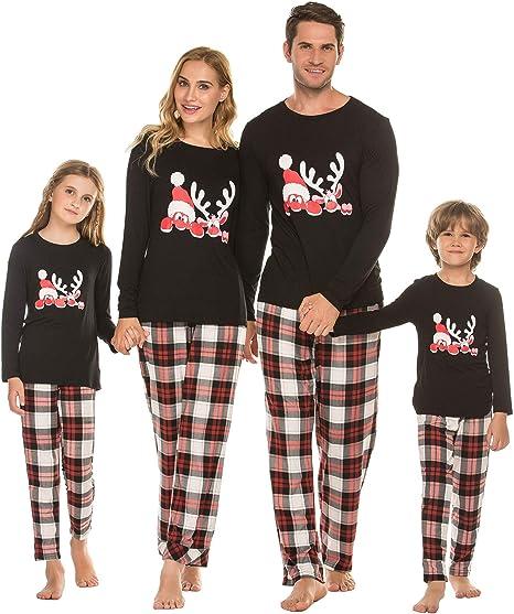 Pijamas a juego con la familia Pijamas modales Pantalones de pijama a cuadros de 2 piezas para Navidad Hombres Mujeres Niño Niña Invierno cálid, color Negro con cuadrados, Talla 40EU/Etiqueta - L: