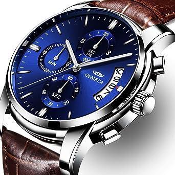 OLMECA Mens Watches Luxury Wristwatches Waterproof Fashion Quartz Watches Brown Leather Watch for Men