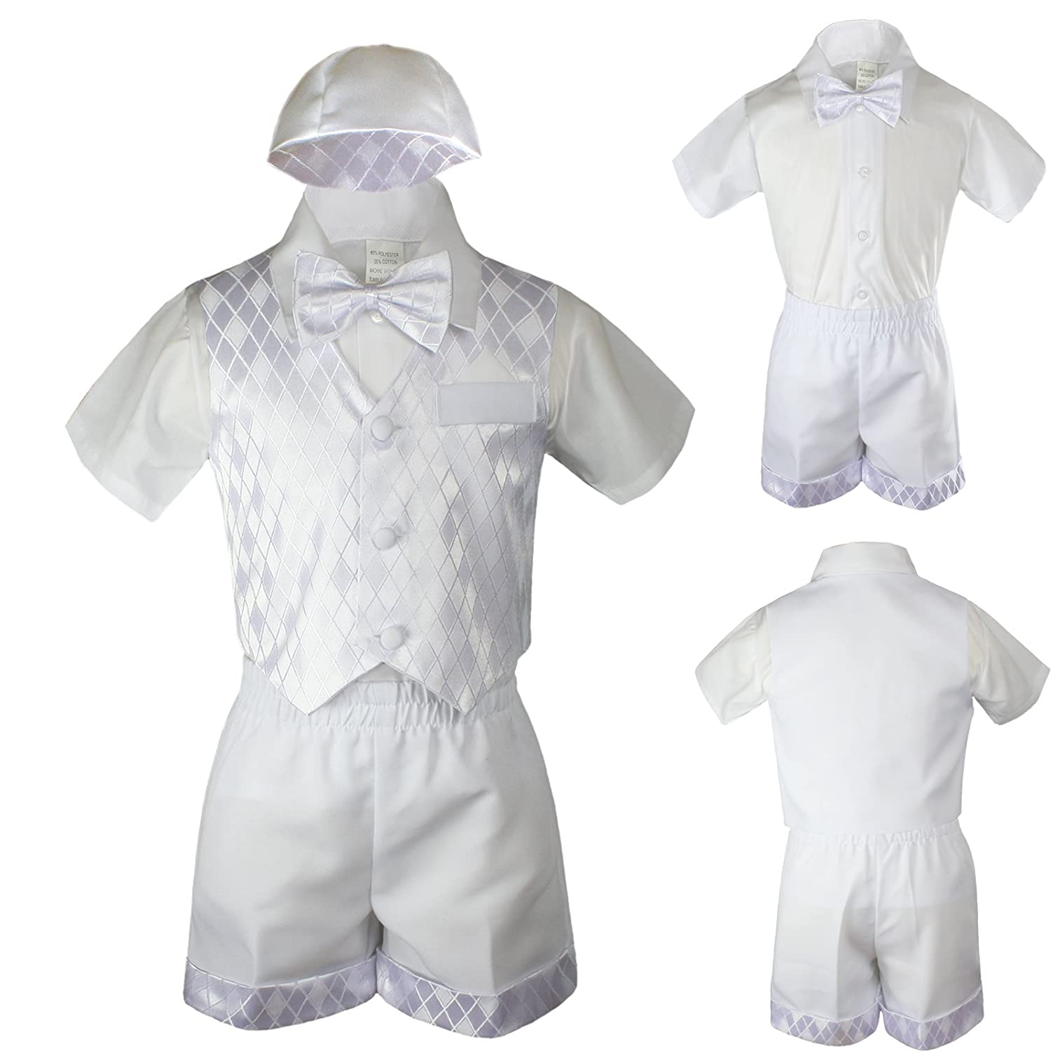 9dd46742b3b Amazon.com  Boys Baby Toddler Baptism Church Baptism Vest Shorts Suit White  Hat S-4T (2T)  Baby