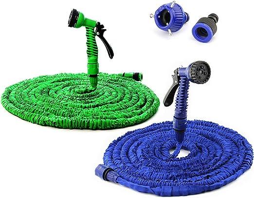 Manguera de agua expandible para jardín, 25 pies, 50 pies, 100 pies, 125 pies, 150 pies, manguera mágica flexible para jardín, juego para riego + pistola pulverizadora verde/azul, 75 pies, verde: Amazon.es: Jardín