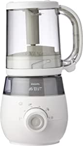 Philips Avent 4-in-1 Healthy Baby Food Maker for Steaming/Blending/Defrosting/Reheating with Weaning Advice and Recipes, 1 Litre, SCF875/06