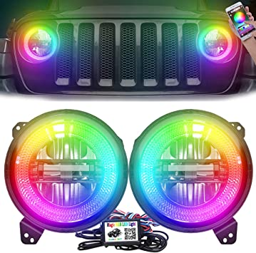 COWONE Dot Approved 9Inch RGB Halo Led Round Headlights Integrated Mounting Bracket for Jeep Wrangler JL Sport Rubicon Sahara 2018-2019 DIY RGB Color