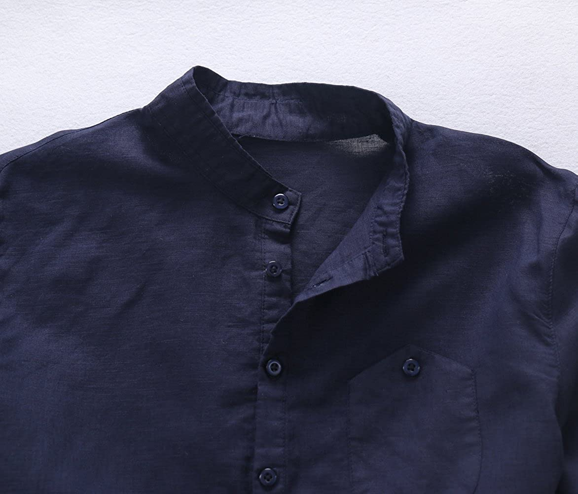Chickle Mens Solid Long Sleeve Breathable Button Down Linen Shirt