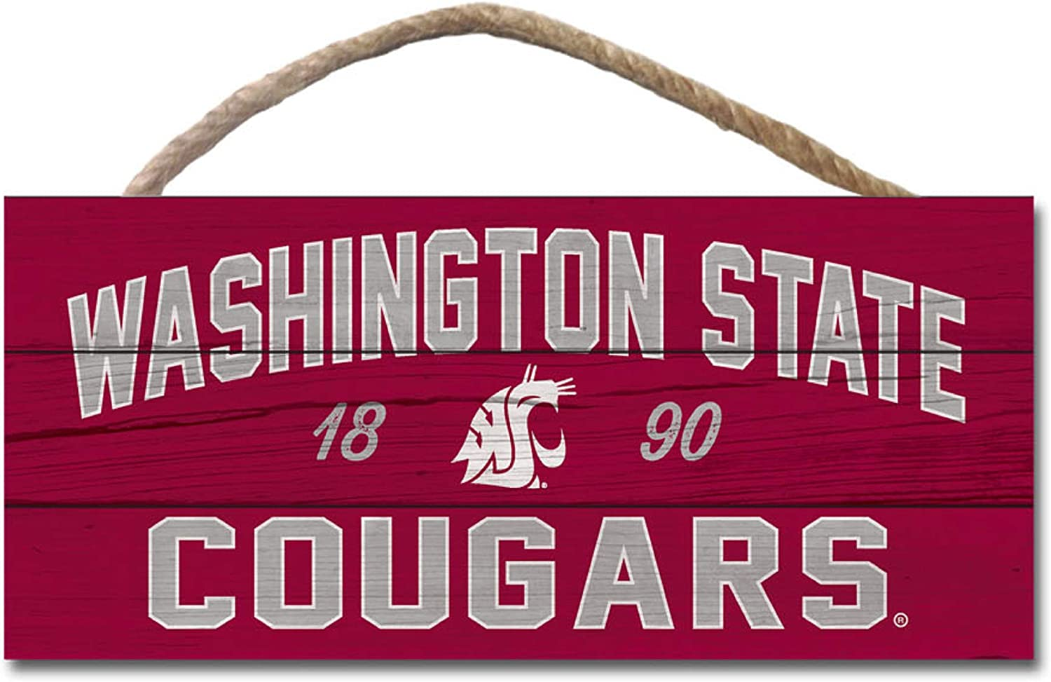 Wood One Size NCAA Legacy Washington State Cougars Wood Plank Hanging Sign 10x5