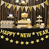 gold glitter new year twinkle stars banner kit party favors flake resistant 2019 happy new