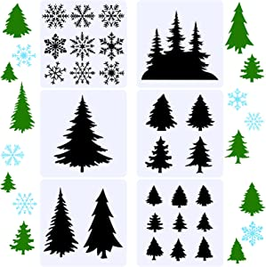 6 Pieces 10 Inch Christmas Tree Snowflake Stencils Reusable Tree Snowflake Template Plastic Holiday Painting Decor Template for Christmas Window Wall Crafts Painting Decorations