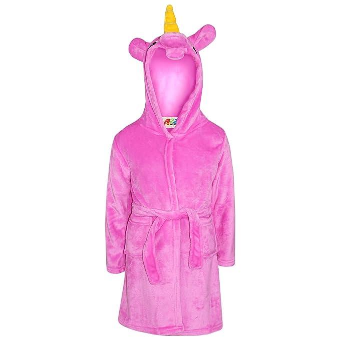 Amazon.com: Girls Bathrobe 3D Animal Unicorn Cerise Dressing Gown ...