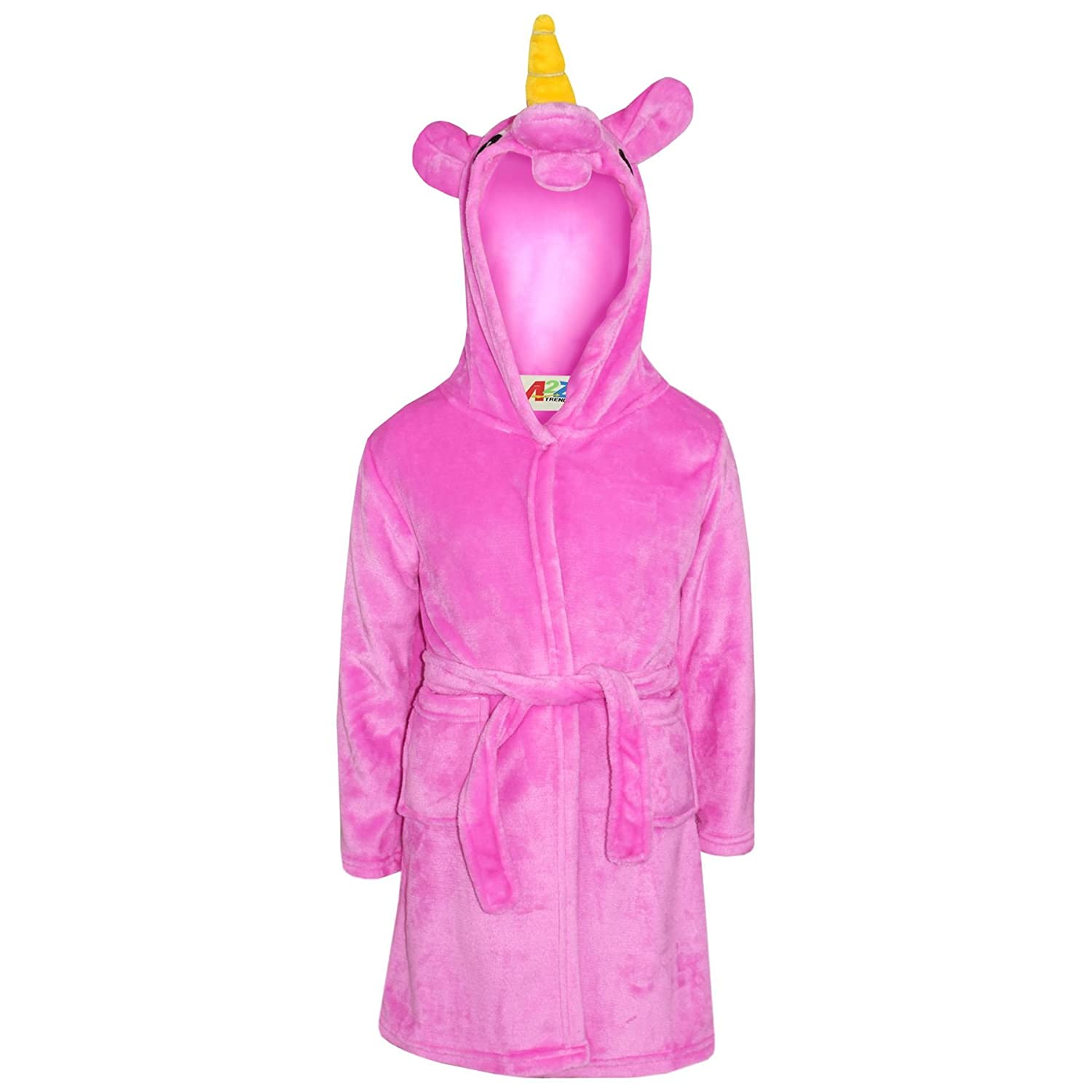 A2Z 4 Kids®®® Kids Girls Boys Bath Robe Animal Unicorn Dressing Gown Fleece Night Lounge Wear