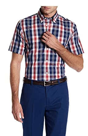 2bccf100 Brooks Brothers Mens Regent Short Sleeve Open Blue Plaid Button Front Shirt  (Small)