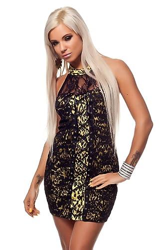 Celebrity, colore: giallo, motivo leopardo, colore: nero, taglie vestito da sera con lacci elasticiz...