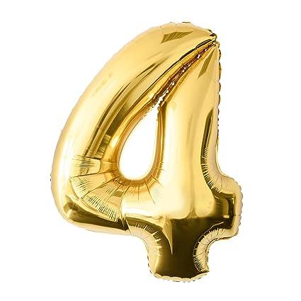 Globo de lámina 4 dorado Número enorme 100 cm rellenable con ...