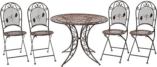 aubaho Muebles de jardín Mesa y 4 sillas de Hierro Muebles de jardín nostálgico: Amazon.es: Jardín